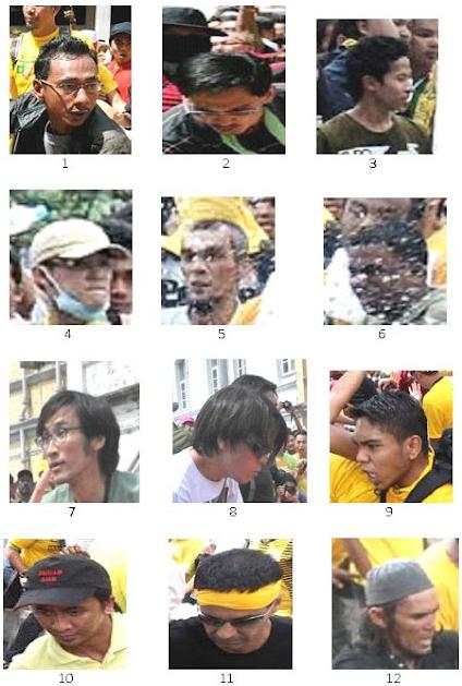 Wajah Perusuh Bersih 3.0 Yang Dikehendaki Polis