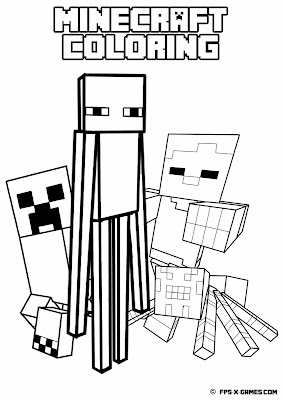 Printable Minecraft coloring - Mob