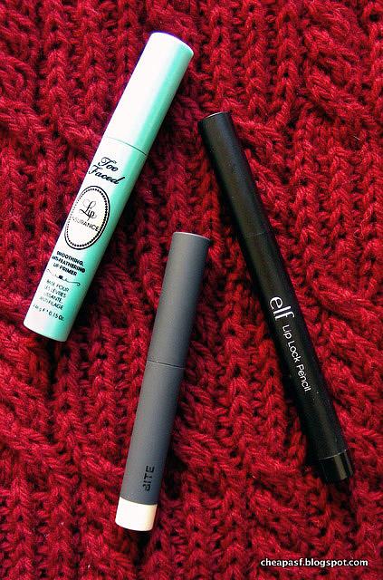 Too Faced Lip Insurance Lip Primer vs. e.l.f. Lip Lock Pencil primer vs. Bite Beauty Line & Define Lip Primer