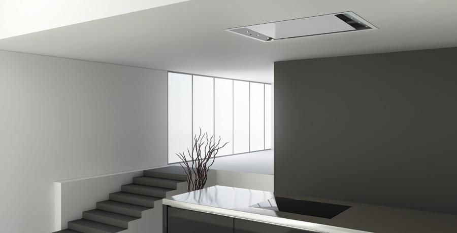 Campanas de techo luminosas y eficientes cocinas con estilo - Campana extractora cocina ...