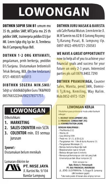 Lowongan Baris Lampung Post 09 Februari 2015