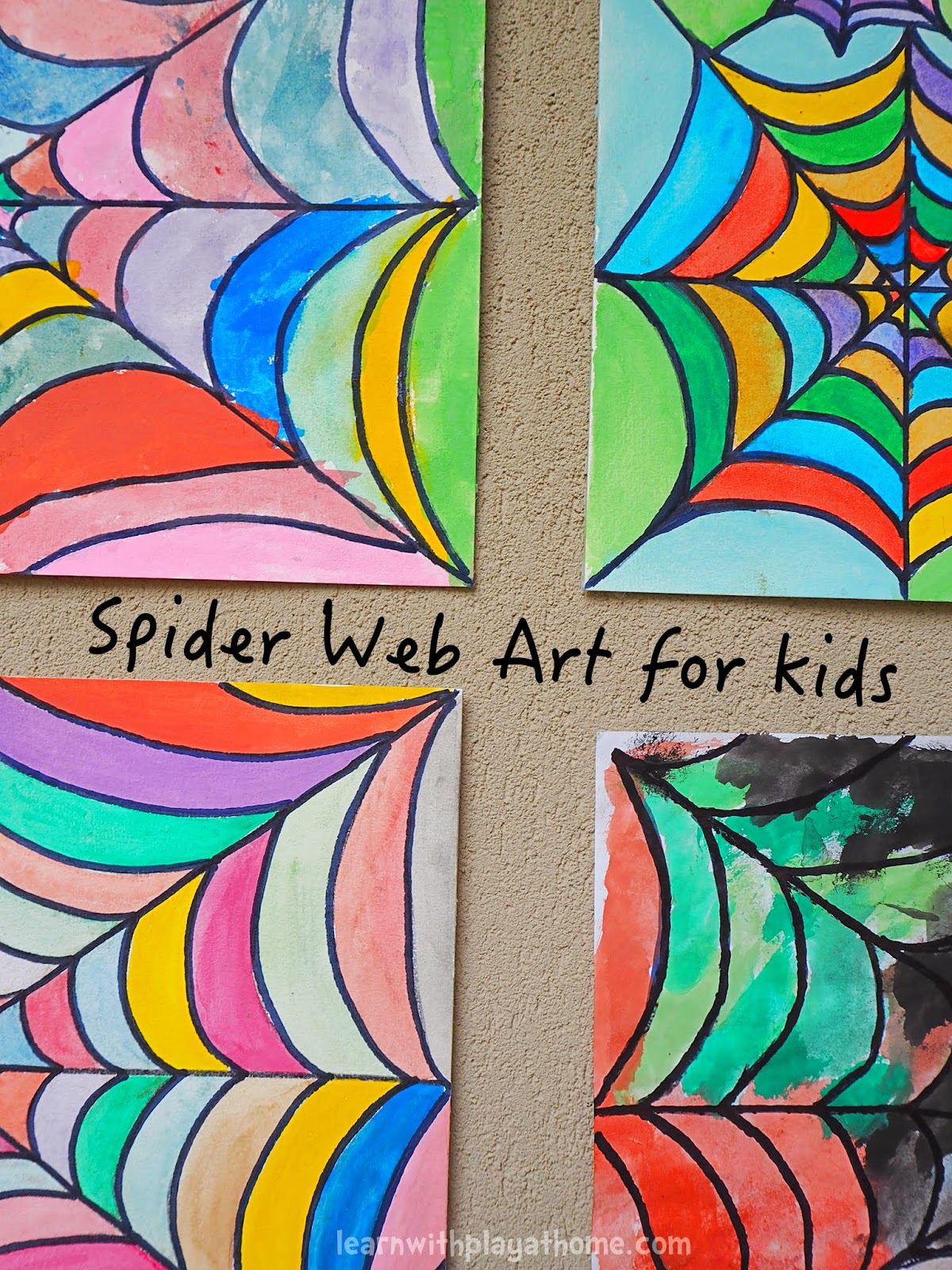 Learn with play at home spider web art for kids for Painting craft projects