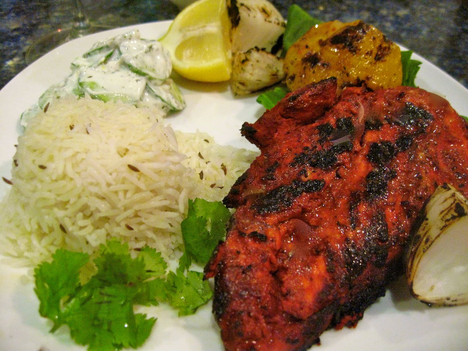 Classic spicy tandoori chicken and side dishes for Good side dishes for grilled chicken