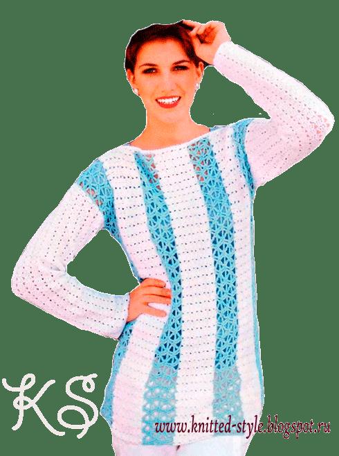 Летний пуловер в голубую и белую полоску