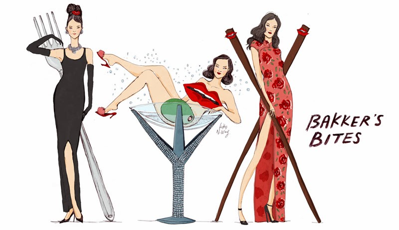 Kitty N. Wong / fashion foodie illustration. Audrey Hepburn, Dita Von Teese, Chopstick Girl