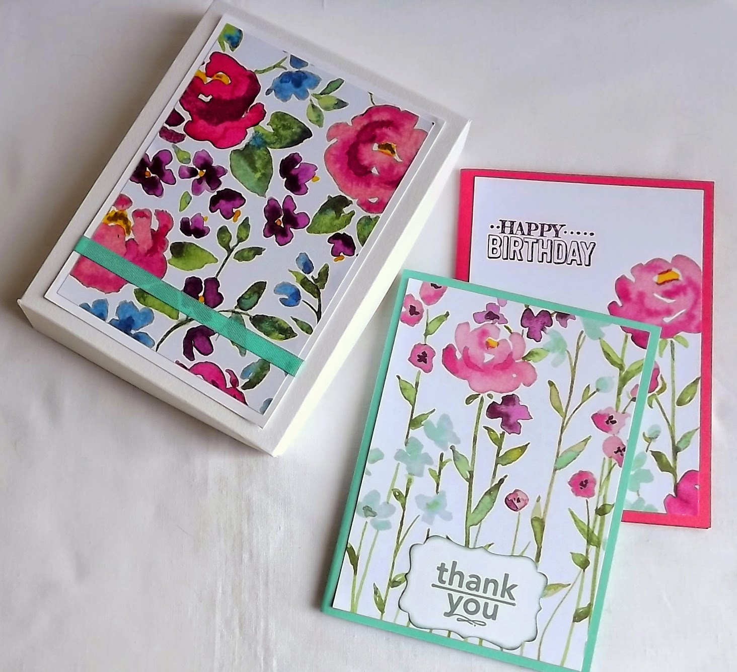 Stampin Up! Painted Blooms card and box