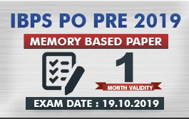 MEMORY BASED PAPER - IBPS PO PRE 2019 : 19 OCT 2019