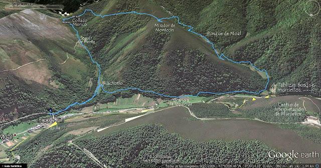 Mapa Ortográfico Ruta del Bosque de Moal PR.AS-132 Cangas del Narcea