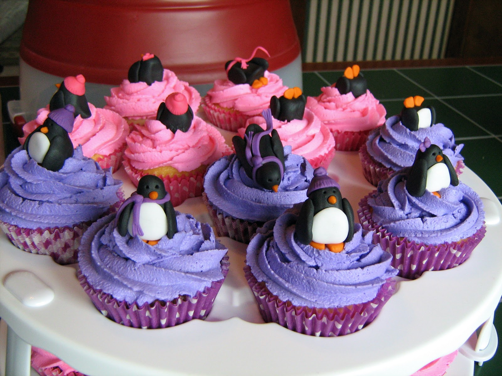 fowl single file penguin goodies in pink and purple
