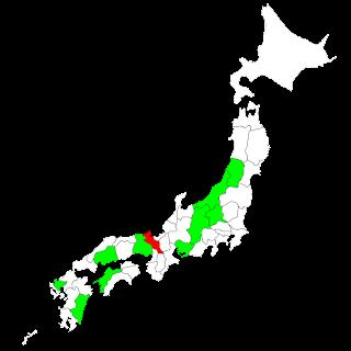 既にタンデム可の地域を緑で塗ってある: 長野,兵庫,愛媛,広島,山形,新潟,宮崎,佐賀,愛知,群馬. 新たにタンデム可となる京都府を赤で塗ってある