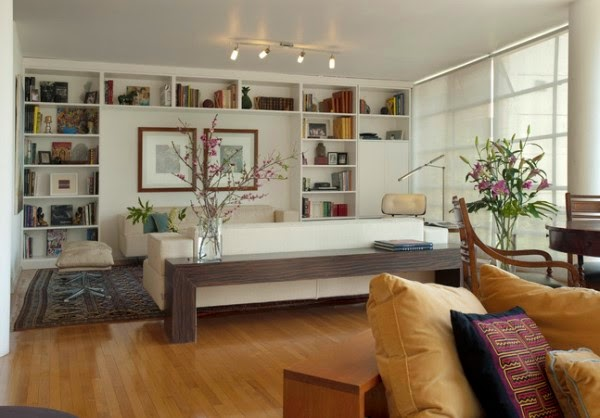 15 functional living room shelving ideas and units.