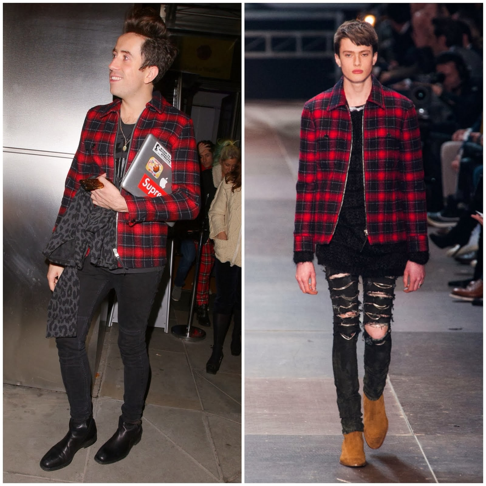 Nick Grimshaw in Saint Laurent Red wool classic plaid jacket - Sushi Samba restaurant's first anniversary party, London