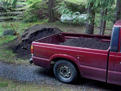 loading topsoil for garden