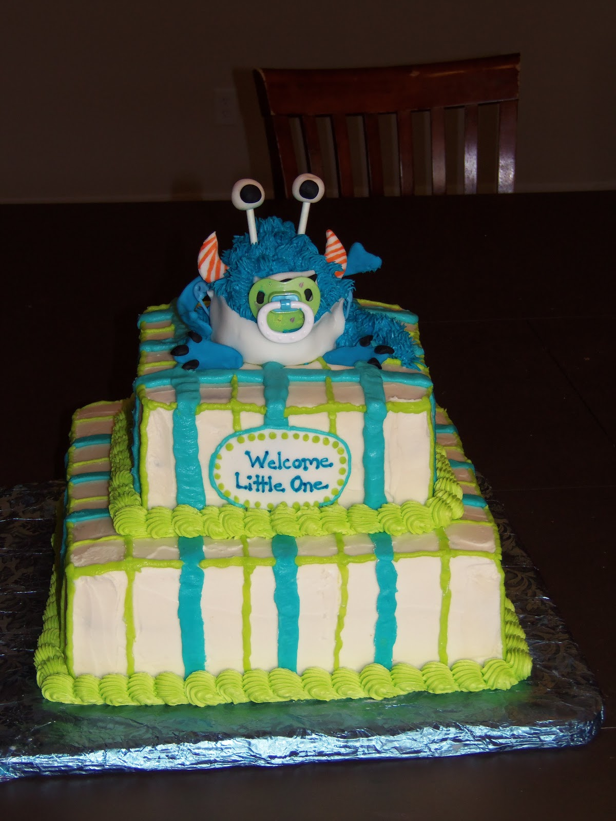 Dreaming in Buttercream Monster Baby Shower Cake