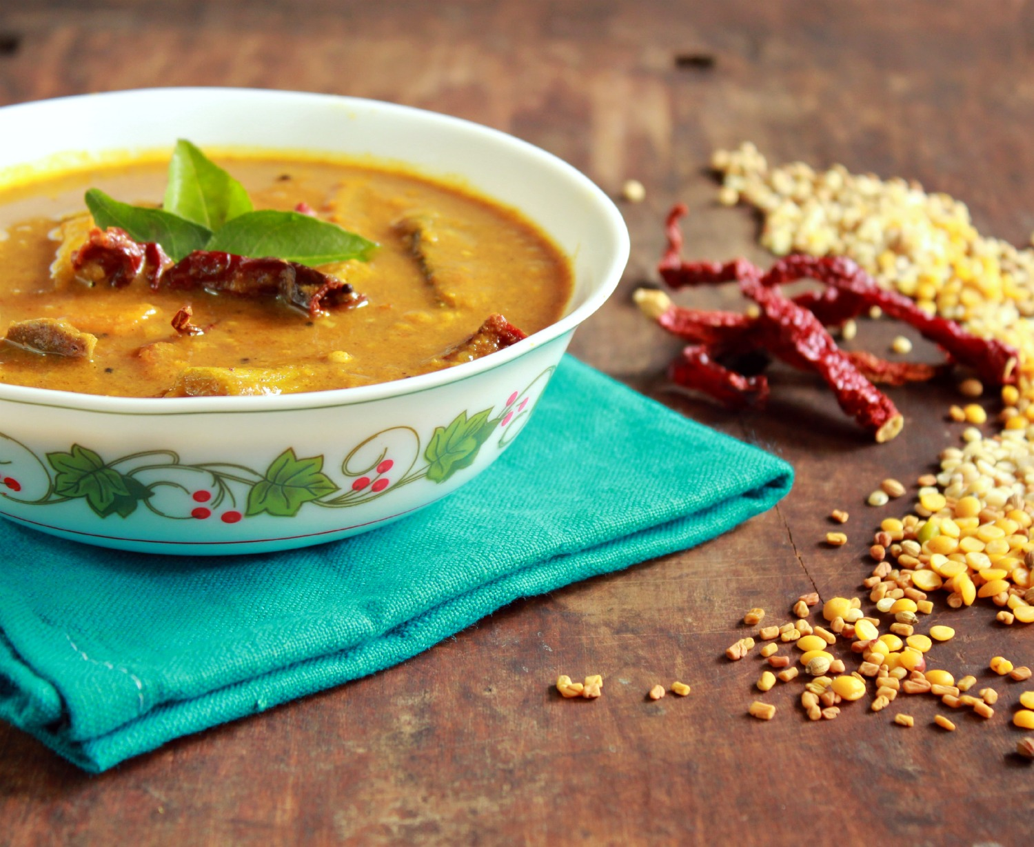 Rinku\'s Kitchen Treats: Varutharacha Sambar / Sambar with Roasted ...