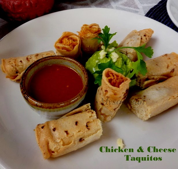 Baked Chicken and Cheese Taquitos | Mysoorean