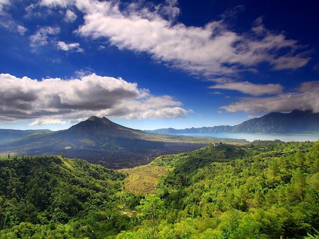Mount Batur and  Lake Batur Bali Indonesia