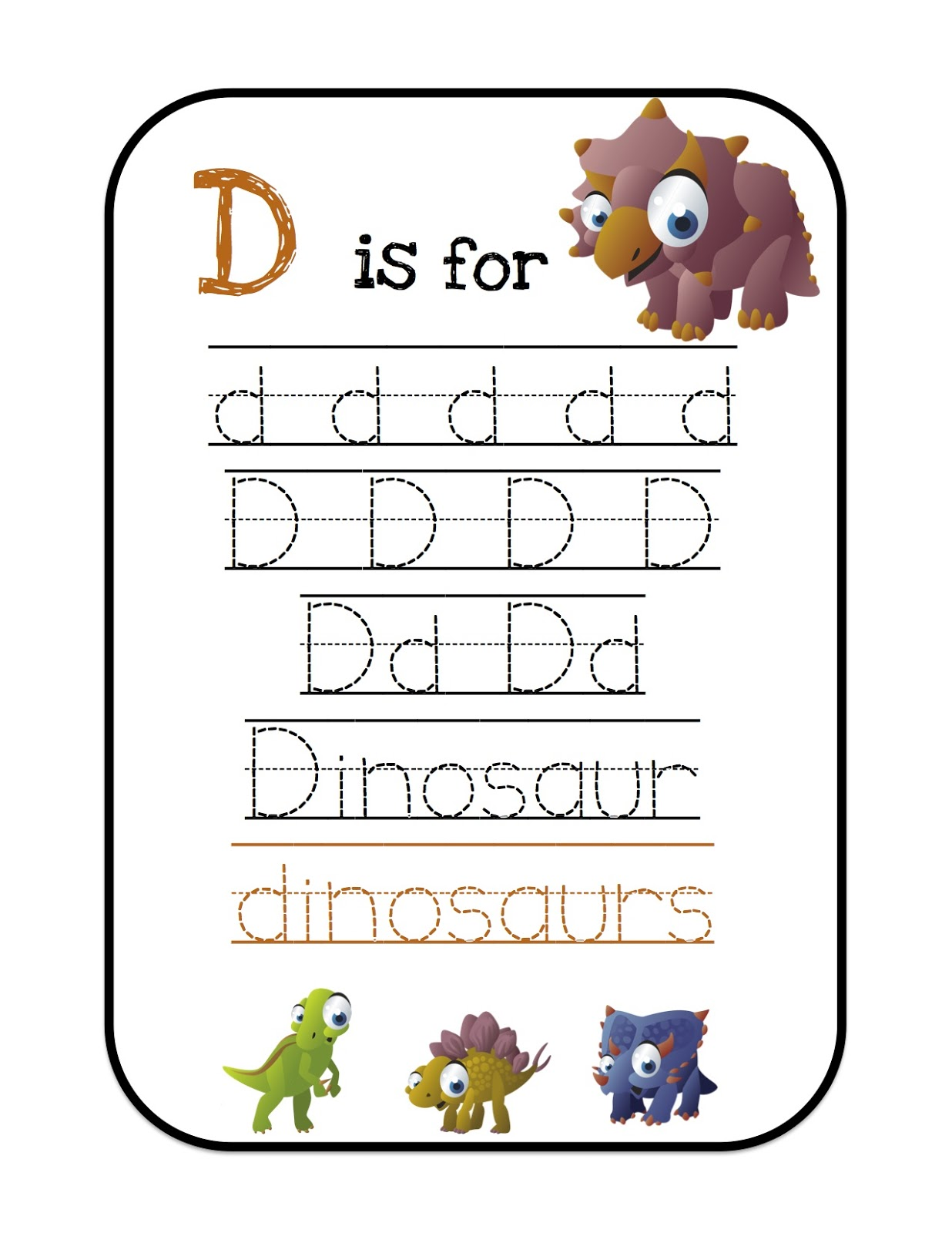 Ten Terrible Dinosaurs Printable ~ Preschool Printables