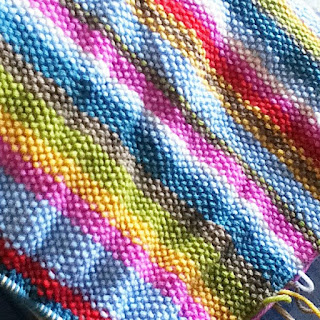 moss-stitch rainbow knitting