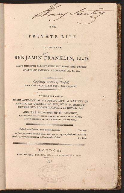 the autobiography of benjamin franklin book report Book report about the autobiography of benjamin franklin he has many titles, as people know, such as, politician, scientist, businessman, and philosopher and so on.