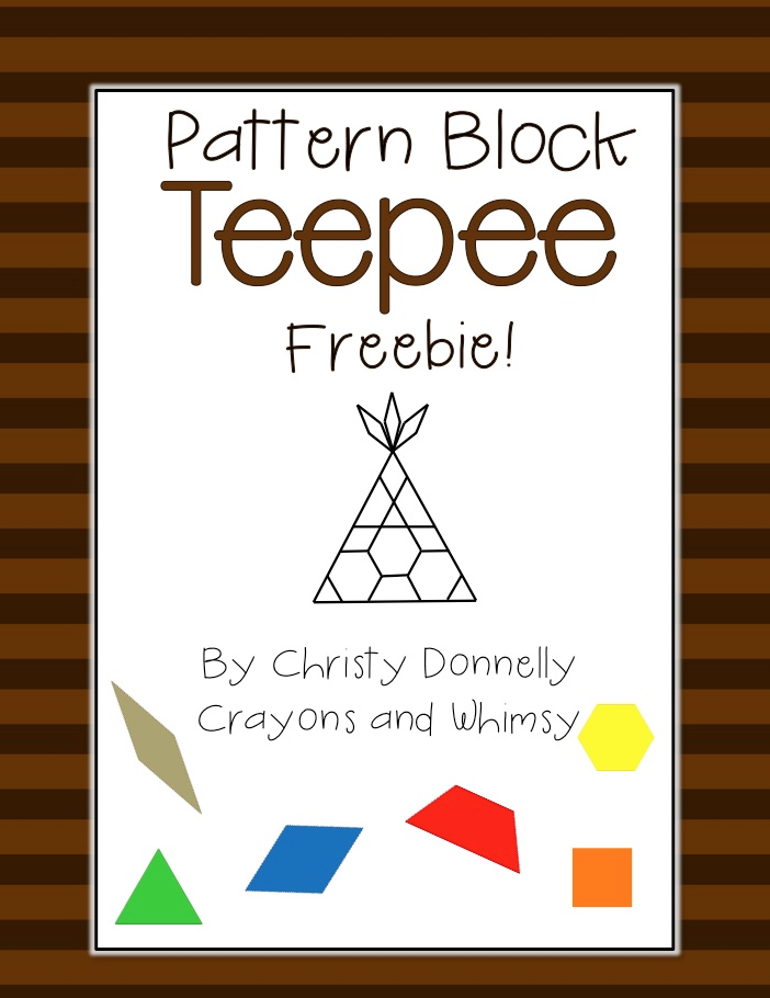 Pattern Block Teepee Crayons and Whimsy Freebie