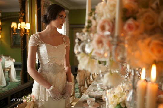girl in wedding dress with vintage table setting