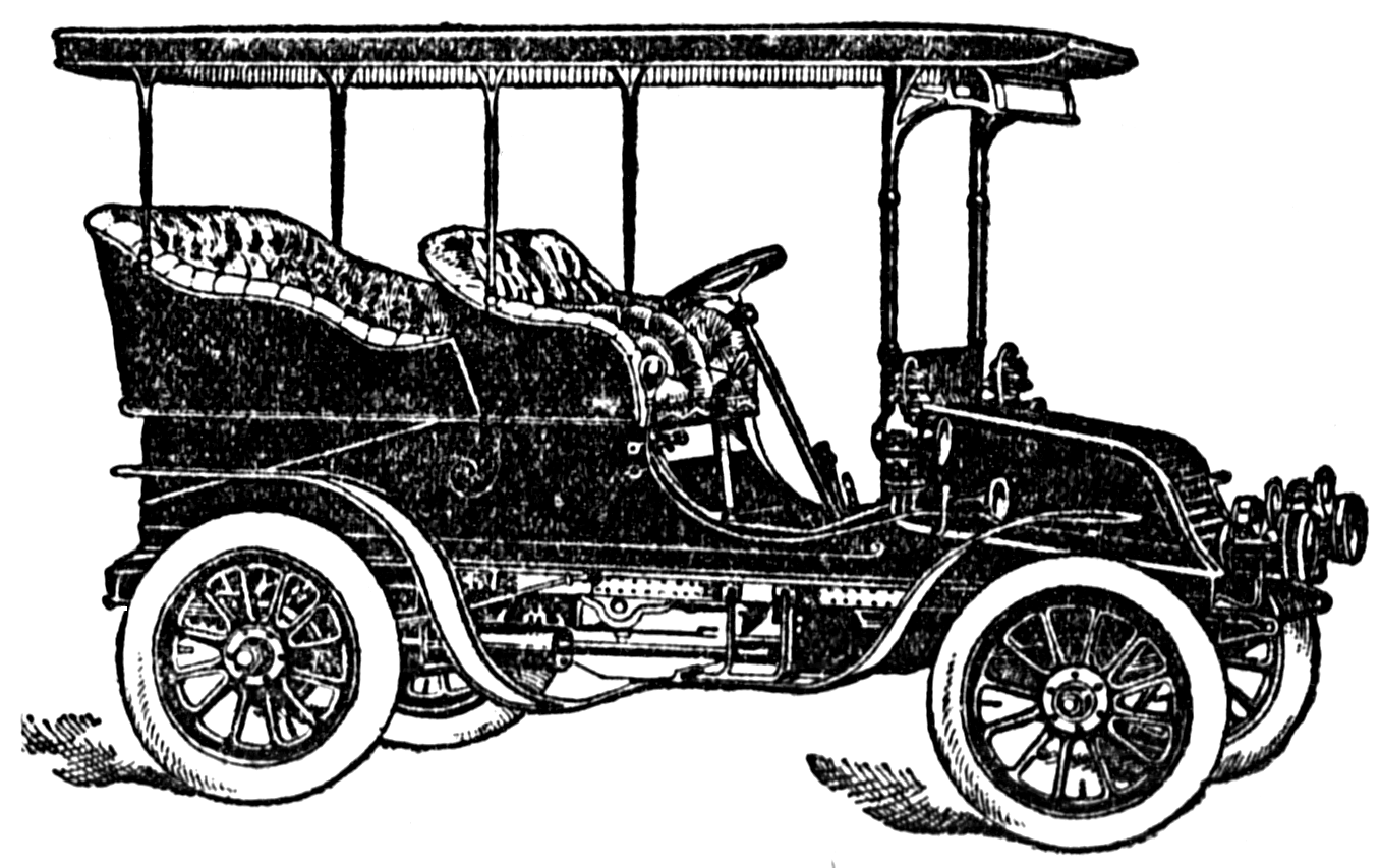 1904 Vintage Car Clipart Black And White
