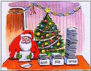 Chiste gráfico de Navidad: Papá Noel y el correo