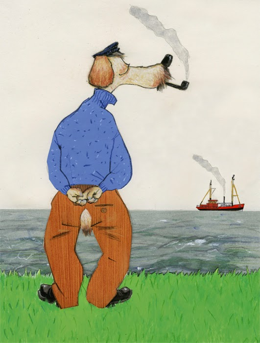 illustration by Robert Wagt of a sailor dog looking out over the sea at the zk46