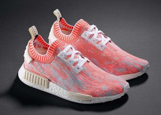 Adidas NMD R1 Primeknit Camo Pack, which includes four colorways: orange,  blue, white and olive green (Cheap Watches - http://www.watchfeed.co/).