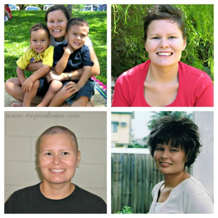 Photos of various hairstyles as a result of cancer treatment