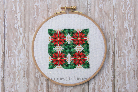 Flowering Pohutukawa Christmas Ornament cross stitch design by homestitchness