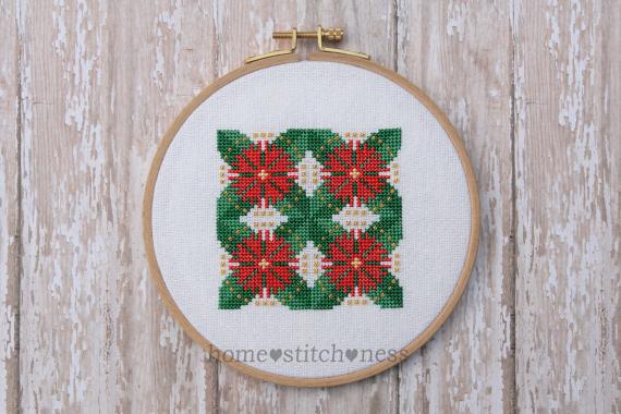 Flowering Pohutukawa Christmas Ornament cross stitch design by homestitchness