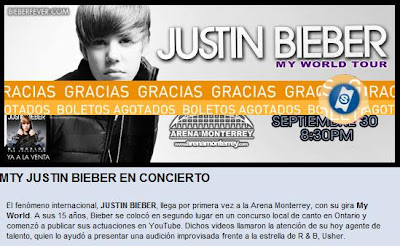 Justin Bieber Concert Tickets 2011 on Justin Bieber S Concert Ticket At Arena Monterrey  Mexico Sold Out In