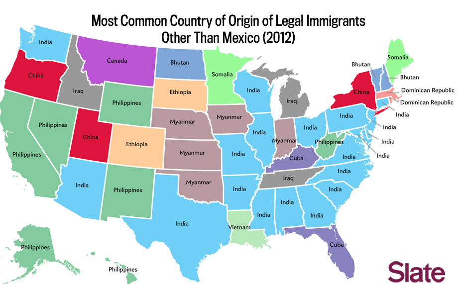 Most common country of origin of legal immigrants other than Mexico
