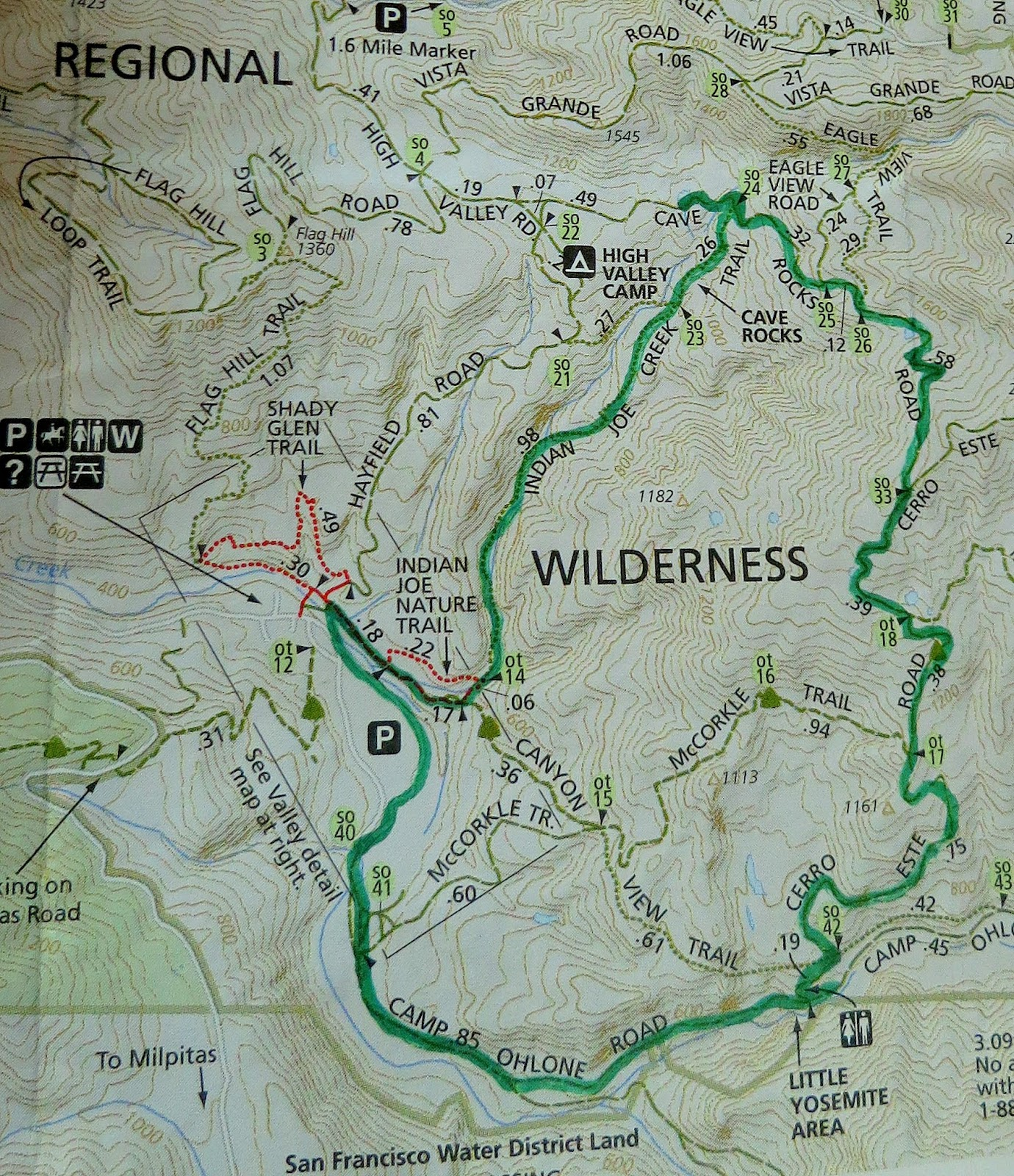 our route in green marker