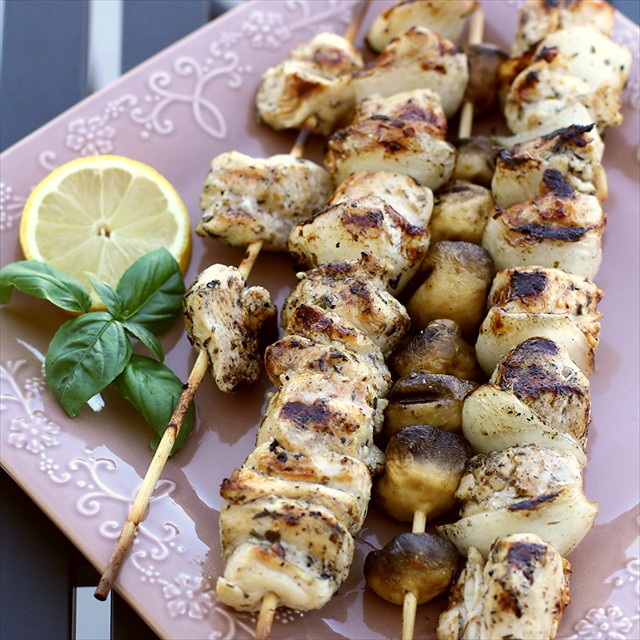 GREEK CHICKEN SOUVLAKI with LEMON RICE: Butter with a Side of Bread