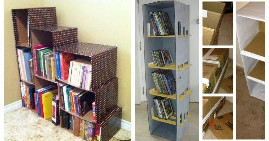 Transforma cajas de cart n en estantes y libreros for Estantes de carton