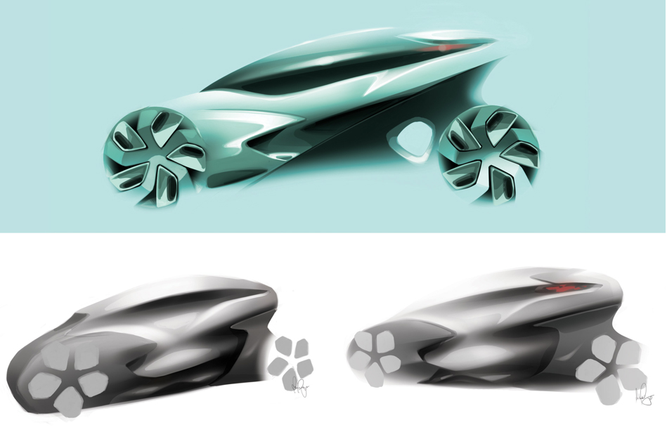 Industrial design transport concept sketches