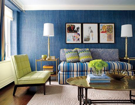 The keeping room - Blue and green living room ...