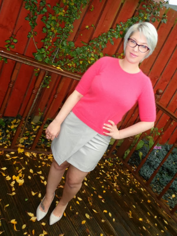 Fluffy Pink Jumper and Wrap Over Skirt