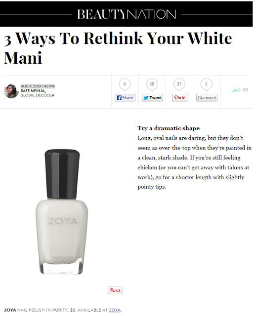Refinery29 s best white polish features zoya nail polish in purity