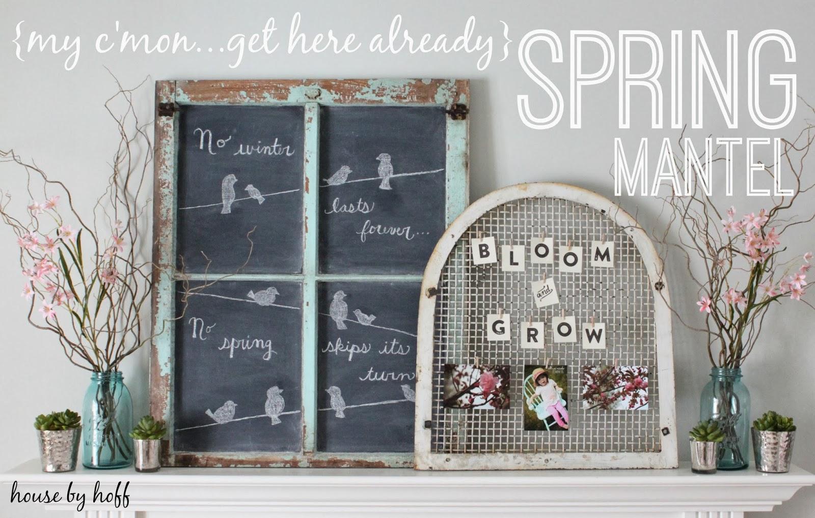 Spring Mantel via housebyhoff.com