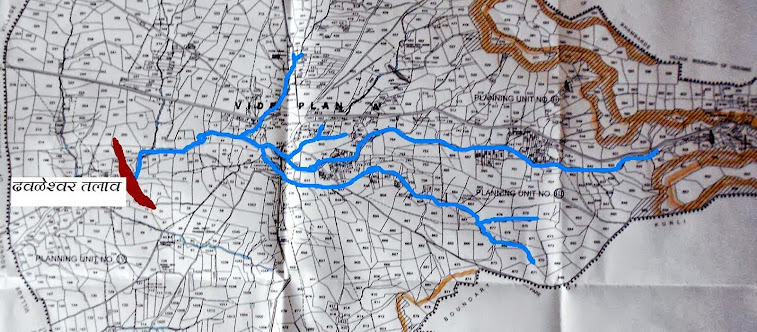 विट्यातील ओढ्यांचे स्थान दर्शवणारा नकाशा.