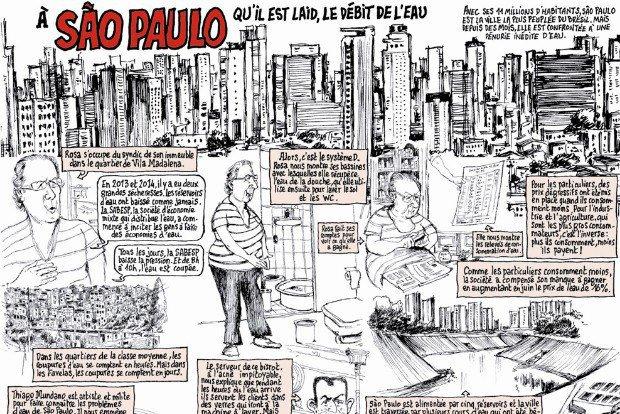 Charge do 'Charlie Hebdo' critica falta de água em São Paulo