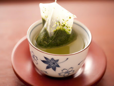 green tea with tea bag