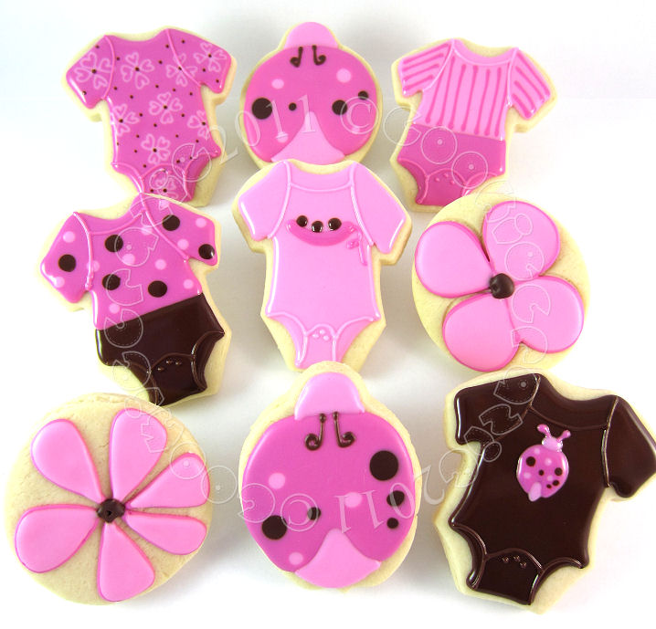 CookieCrazie: Pink & Brown Ladybug Baby Shower Onesies