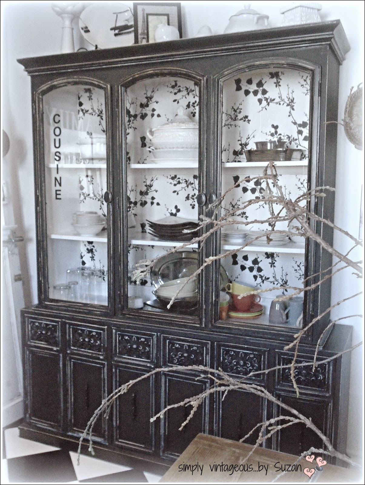 Black painted hutch