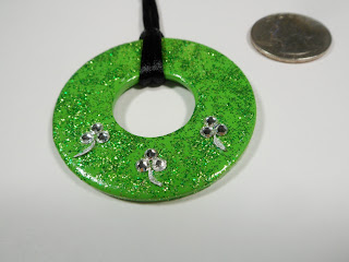 shamrock washer necklace green glitter