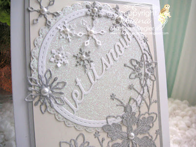 white winter card with memory box dies detail